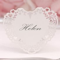 Vintage Romance White Free Standing Laser Cut Heart Place Card (10)